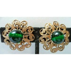 vintage green cab gold filigree flower earrings